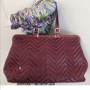 Large woven Roberta di camerino wine xl handbag